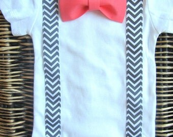 Baby Boy Clothes - Baby Toddler Bow Tie - Baby Tuxedo - Coming Home Outfit - Grey Chevron Suspender Coral Bow Tie - Boys Wedding Outfit