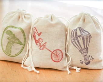 Circus Carnival bags set 15 with stamp gift sack childrens birthday party baby shower goodies treat bag