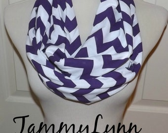 NEW!! Purple on White Chevron Scarf Chevron Zig Zag Jersey Knit Infinity Scarves Women's Accessories