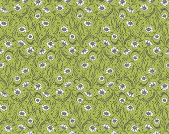 Floral Fabric, Poppies Fabric - Cushions & Dust  Green Poppies, Sarah Watts, Blend Fabrics Green 110 102 05 1 - Priced by the 1/2 yard
