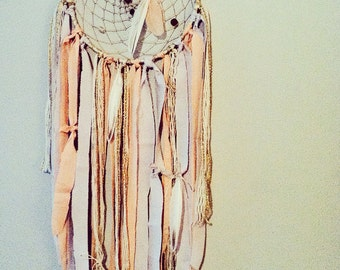 Boho Chic Dreamcatcher, Bohemian, Neutral Colors & Pinks, Ribbon, Beads, Feathers, Boho Decor, Modern Dreamcatcher, Gypsy Chic, 3 Sizes