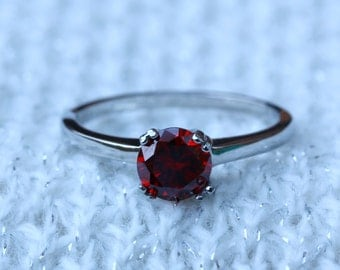 Genuine Garnet 1ct solitaire ring in Titanium or White Gold - engagement ring - wedding ring - handmade ring