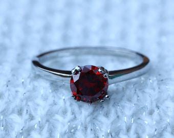 Genuine Garnet 1ct solitaire ring in Titanium or White Gold - engagement ring - wedding ring - handmade ring