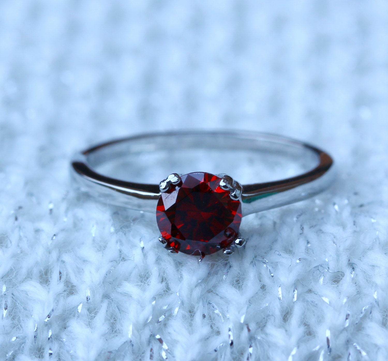 garnet ring garnet wedding rings Genuine Garnet 1ct solitaire ring in Titanium or White Gold engagement ring wedding ring handmade ring