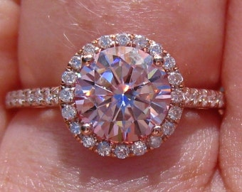 Pink Moissanite Engagement Ring, Rose Gold Engagement Ring, Pink Moissanite Rose Gold Diamond Halo Engagement Ring