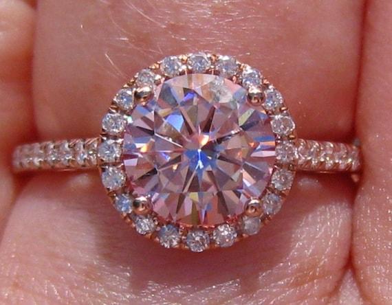 pink moissanite engagement ring rose gold engagement ring