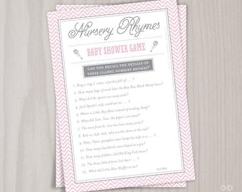 Pink Nursery Rhyme Baby Shower Game, Printable Mother Goose Nursery Rhymes Quiz, Pink and Grey Baby Girl Gender Neutral Games