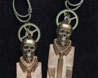 Earrings skulls suits and workings of watch