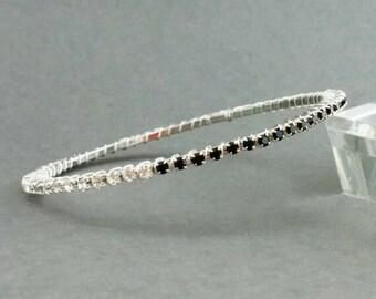 Black Crystal Bracelet, Crystal Rhinestone Bangle, Dainty Stacking Bracelet; Two Tone Jewelry; Wedding; Bride