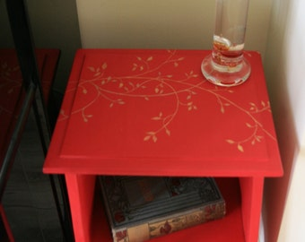 Fabulous Red and Gold Hand Painted Statement Plant Stand