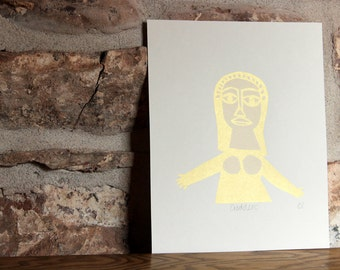 SALE Goddess Screen print in white and gold