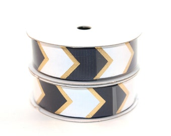 "7/8"" Navy White/Gold Fashion Chevron Grosgrain Ribbon"