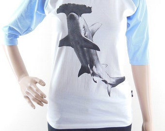 Hammerhead Shark shirt animal shirt shark shirt women shirt baseball shirt raglan shirt size S