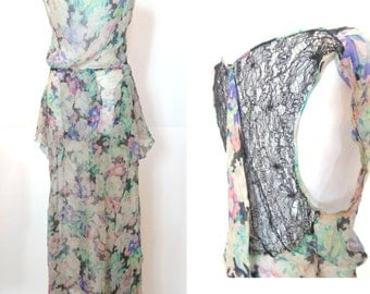 RESERVED.Vintage 1930s Dress and Bolero - Silk Chiffon