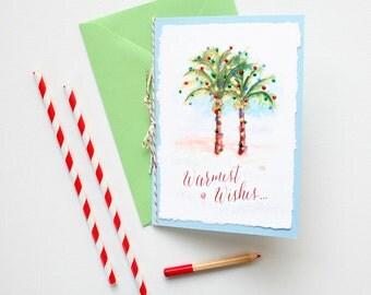 Handmade Beach Christmas Card - Unique Christmas Card - Watercolor Palm Trees Christmas Card