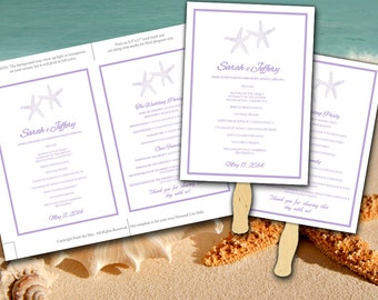 DIY Wedding Fan Template - Starfish Ceremony Program - Lavender Lilac Purple - Outdoor Beach Wedding Program Favor