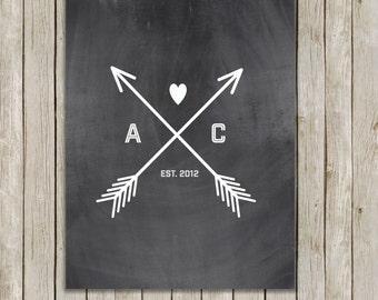 Custom Size Heart and Arrow Custom Print, Chalkboard Wall Art, Custom Initial Art, Wedding Gift, Custom Art, Love Wall Art, Made To Order