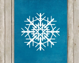 8x10 Christmas Printable Decor, Snowflake Art Poster, Snowflake Wall Art, Teal Wall Printable, Holiday Printable, Decor, Instant Download