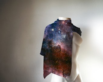 Galaxy Scarf, Galaxy Print Scarf, Nasa Galaxy Scarf, Nebula Scarf, Space Scarf, Gift for her, Gift for him, Scarves and Wraps. Wholesale