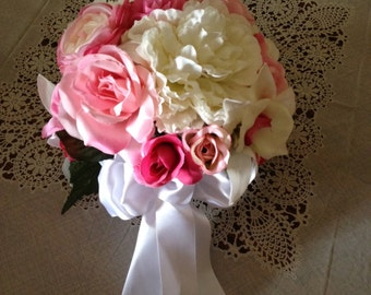 pink and white silk  bridal bouquet