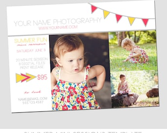 INSTANT DOWNLOAD, Summer Mini Session Photography Template, Marketing Template, Simple - Easy, Drag & Drop, Summer, Spring, Family, Kids