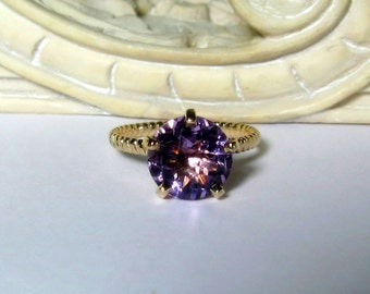 Amethyst 14K Gold, Engagement, Non Traditional, Cocktail, Prong, Rope Band, Ready to Ship, Size 6.75