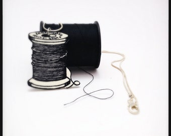 Spool of Thread Black and White Illustration Pendant Necklace