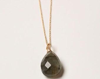Labradorite, Gold Filled Chain, Semi-Precious Stones, Minimalistic, Necklace