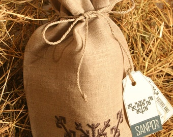 Natural linen gift bag with Latvian Sign AUSTRAS KOKS embroidery