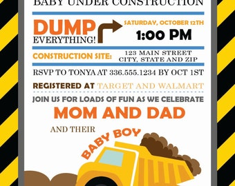 Caution! Baby Under Construction Baby Shower Invitation