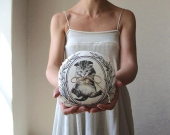 Wedding ring bearer pillow for cat lovers cats person bride hand painted alternative ring cushion white ivory