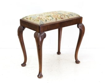 Queen Anne Walnut Stool with Floral Needlework Seat