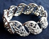 Vintage 1980s Silver Art Nouveau Panel Filigree Fine Detail Adjustable Bracelet Bangle