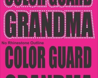 Color Guard Grandma T Shirt/ Color Guard Grandma Shirt/ Color Guard Grandma Gift/ Vinyl Rhinestone Color Guard Grandma Short Sleeve T-Shirt