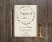 Floral Wedding Rehearsal Dinner Invitation Printable, Digital File - Fall Floral Wreath Invitation