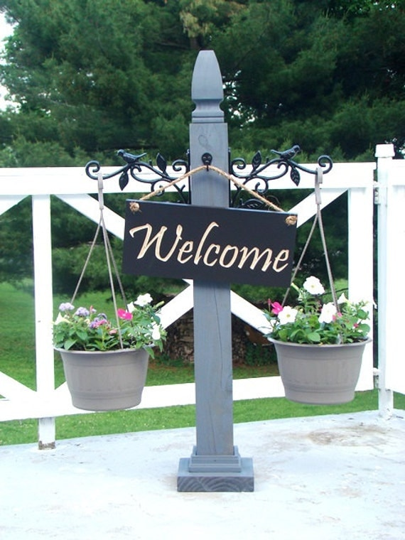 Porch post hanging sign post welcome porch decor for Outdoor decorative signs