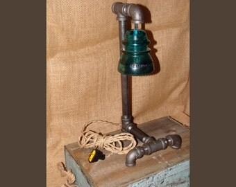 Black steel pipe lamp blue glass insulator creative for Telephone insulator light fixture