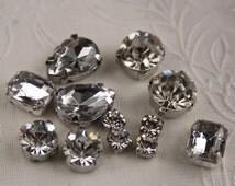 mix lot 12pcs crystal sew on clear rhinestone bead jewellery making handcraft glass scrapbook sewing flat back hole diamond gem sparkling