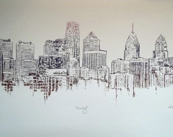 Sunrise Philly Skyline - Screen Print