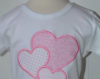 Personalized Valentine's Triple Hearts  Applique Shirt or Onesie Girl or Boy