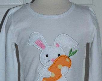 Personalized Easter Bunny Carrot Applique Shirt or Onesie Girl or Boy