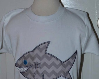 Personalized Shark Applique Shirt or Onesie Boy or Girl