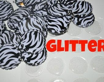 COMBO 50  Zebra Bottle Cap Pendants AND 50 Glitter epoxies, Flat bottle caps with split rings attached, bottlecaps & epoxy DIY