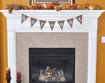 Harvest burlap banner, thanksgiving, fall, home decor; mantel decor, holiday banner, photo prop