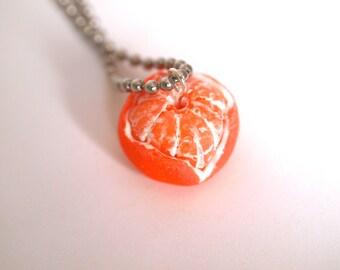 Realistic Orange Peeled Necklace, Tangerine, Miniature Food Jewelry, Mandarin Fruit Necklace, Kawaii Fruit, Orange Polymer Clay Food