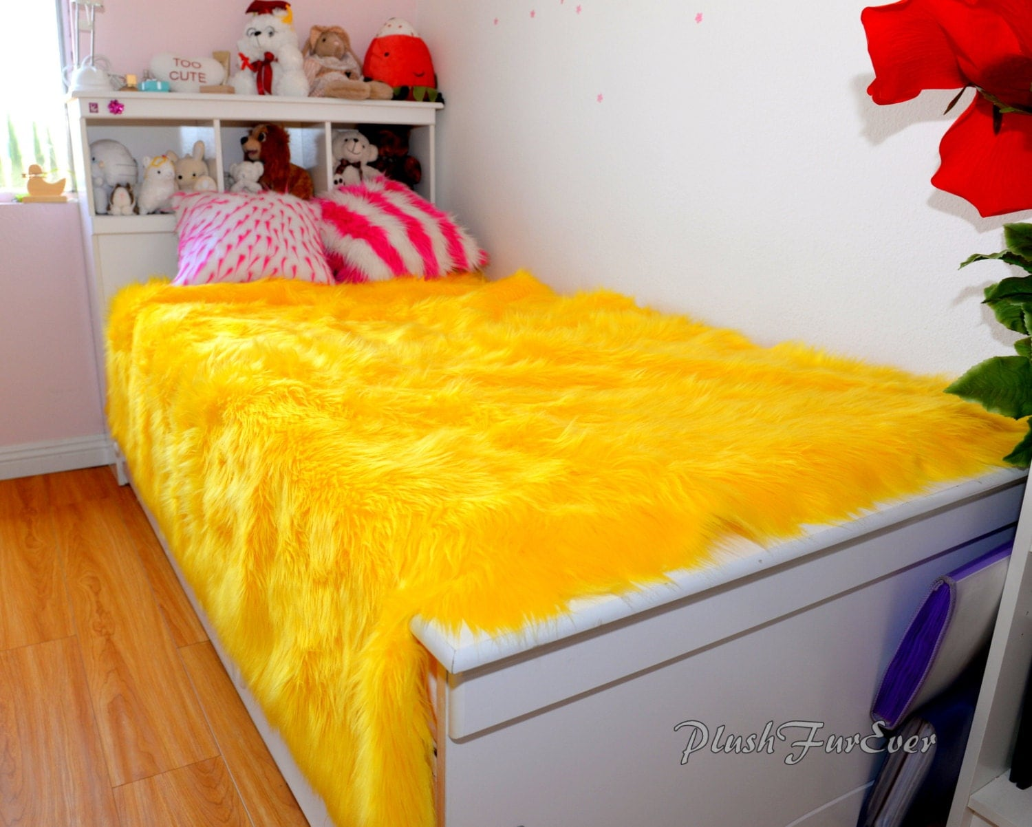 luxurious faux fur bedspread yellow fur king queen twin bedding coverlets bed cover home decor. Black Bedroom Furniture Sets. Home Design Ideas