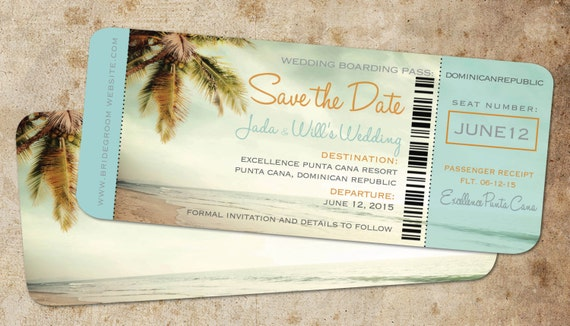 Save the Date Boarding Pass Ticket Vintage Blue // Destination
