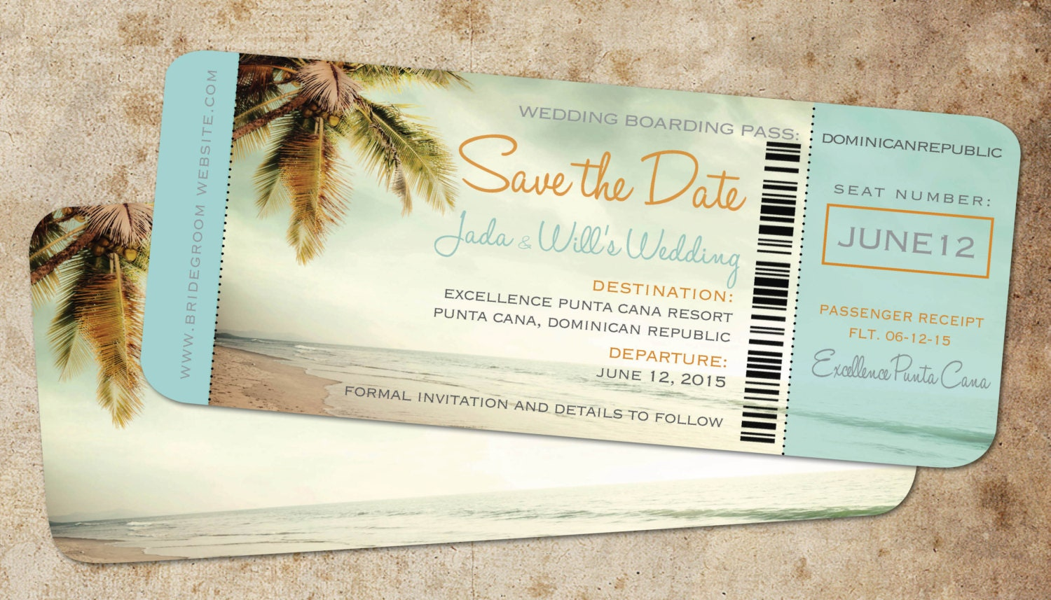 Save the date boarding pass ticket vintage blue destination for Save the date wedding