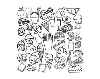 Unhealthy Foods Clipart Black And White 40 Food Doodles Fast Clip Art