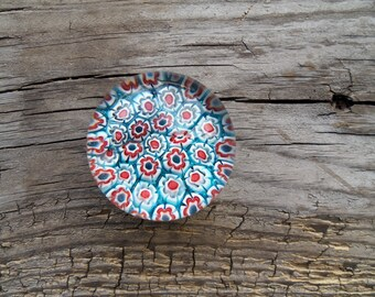 Beautiful Blue Vintage Millifiori Glass Paperweight